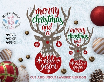 Merry Christmas and a Happy New Year Deer SVG, Merry Christmas svg, Happy new Year svg, Christmas Deer svg, New Year Deer svg, Deer svg file
