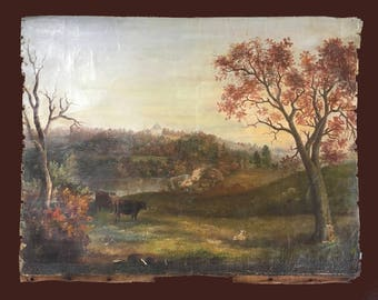 Antique landscape with cows, original oil on canvas from the 1800s, country decor, cottage decor, pastoral