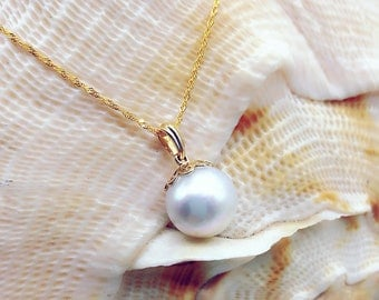 Perfect Round 11.4mm South Sea Pearl Solid 14Kt Gold  Pendant