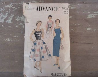 Vintage Advance 7034 Printed Sewing Pattern 1955 Womens Size 16 Dress Pattern