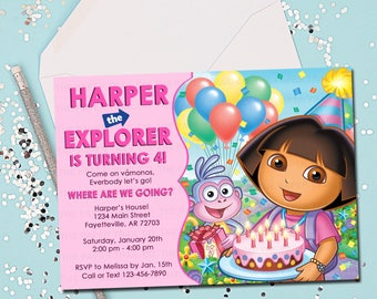 DORA the Explorer Invitation, Birthday Invitation, Dora, Birthday, Invitation, Invite, Dora Birthday, Dora Invitation, Printable 5x7