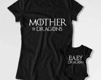 Game of thrones mother of dragons matching Mum and child / baby T shirts Mother and daughter