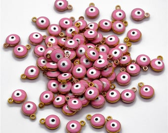 20pcs Pink Evil Eye Charms, Gold Palted Evil Eye Pendant, Double Sided - 10mm - Jewery Making