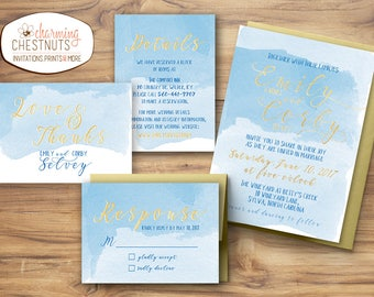 Blue watercolor wedding invitation set, watercolor invite, Blue and gold wedding, Destination wedding invitation, blue gold wedding suite