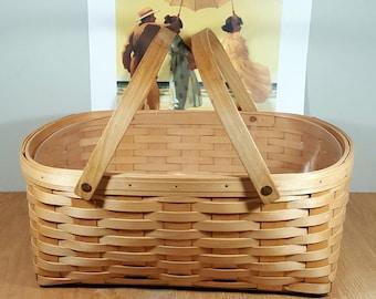 """VINTAGE MARKET BASKET Wood Splint Hamper with Double Handles Plastic Liner High Quality Large Picnic Basket 19"""" Rustic Basket Storage"""