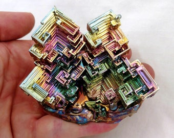 Rainbow Bismuth Bouquet 386g Lab Grown Crystal Display Specimen Educational Metaphysical Metal Healing Self-Standing
