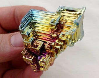 Rainbow Bismuth Crystal 56g Lab Grown Jewelry Display Specimen Educational Metaphysical Metal Healing Stone