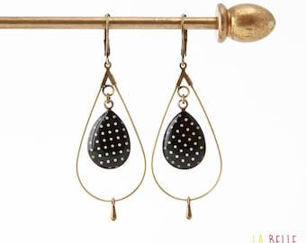 drop hoop earrings resin black polka dot pattern