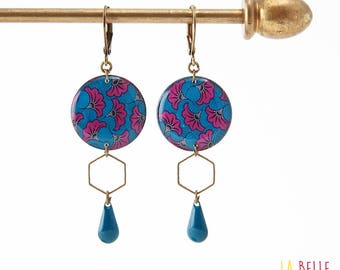 Resinees earrings round Hexagon pattern blue and purple wax