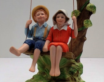 """Vintage Norman Rockwell """"Summer Fun"""" Figurine In Original Box With Certificate"""