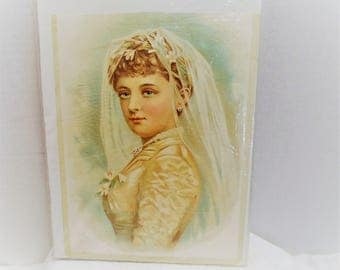 Vintage Victorian Woman Wedding Portrait Print