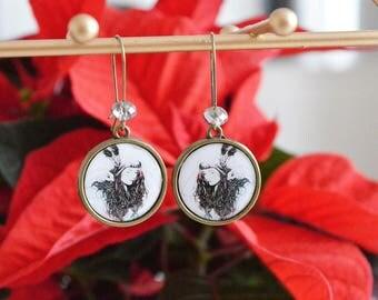 """Indian Portrait"" Cabochon earrings"