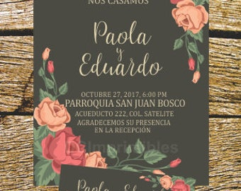 Digital wedding invitation, roses, Floral, Vintage