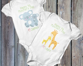 Happy First Mothers Day Baby Bodysuit | Baby Shower Gift | Cute Baby Clothes | Mothers Day Baby | Animal Baby Bodysuit | Funny Baby Bodysuit