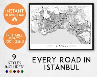 Istanbul map print, Printable Istanbul map art, Istanbul print, Istanbul art, Istanbul poster, Istanbul wall art, Turkey map, Istanbul gift