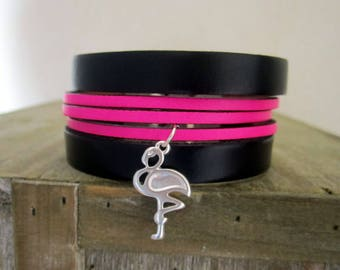 Neon pink/black leather Cuff Bracelet, from Flamingo Pink, 3OMM magnetic silver plated clasp