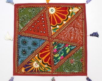 Handmade Hippie Gypsy Home Decor Ethnic Multi color Embroidered Hippy Patchwork Bohemian Pillow Shams Couch Cushion Cover Case G762