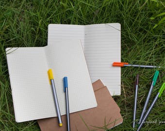 MIDORI NOTEBOOK REFILLS • ruled or grid • 21x11 cm (8.25 x 4.3 inches) • sketchbooks • bullet journal • travelers notebooks refills