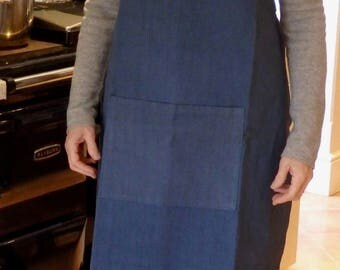 Slate Blue Crossover Apron made from a Vintage French Metis Linen Sheet