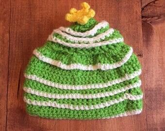 Christmas tree crocheted newborn hat