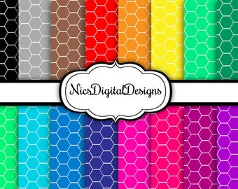 Buy 2 Get 1 Free-16 Digital Papers. Hexagons in RainbowColours (2D no 2) for Personal Use and Small Commercial Use Scrapbooking
