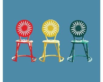 Colorful sunburst Terrace chairs at the University of Wisconsin Terrace