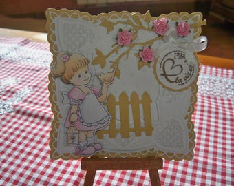 card with little girl comes with envelope