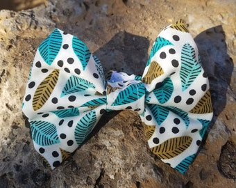 Blue and Green Leaf with Black Polkadot Pattern Dog Bow Tie