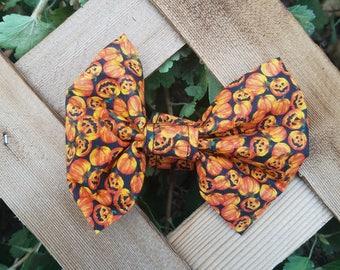 Spooky Pumpkin Halloween Dog Bow Tie