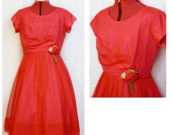 Red Chiffon 50s Party Dress with Fabric Rose