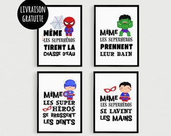 PROMO: Set of 4 Posters 21x30cm quotes superhero kids have peeling - crossed in a bathroom