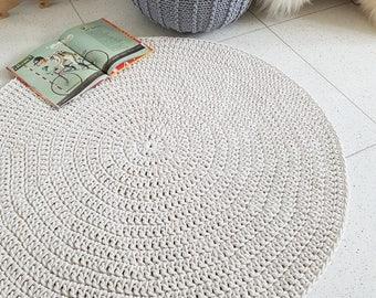 Modern Light Beige round rug, Round area rug Nursery Rug Skandinavische Teppich rund alfombra trapillo modern enfant Large Crochet floor Rug