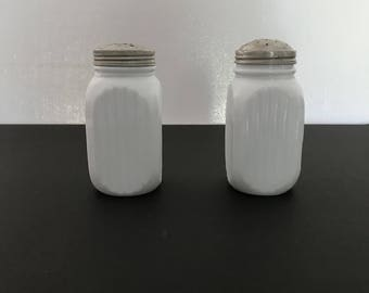 White Milk Glass Salt and Pepper Shakers, Farm House Salt and Peppers,
