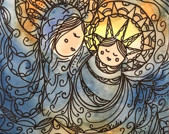 "Print of my Original 5x7"" Watercolor Ink Design Titled: ""Virgin With Child 2017-2"""