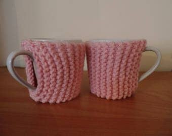 2 porcelain cups with warmers hand knitted wool cups