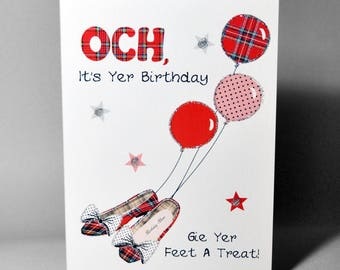 Scottish Tartan Shoes Birthday Card WWBI64
