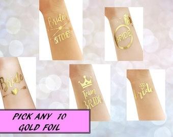 Gold Foil Tattoo | Bridal Party Tattoo | Bachelorette Party | Foil Tattoo | Gold Tattoo| Bride Tattoo | Bridesmaid Tattoo | Gold Foil | 10