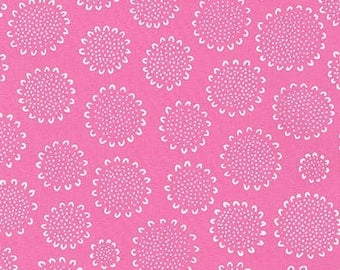 One Yard Cut - Candy Pink Sunflower - Blueberry Park by Karen Lewis for Robert Kaufman -  Quilters Cotton - Fabric by the Yard