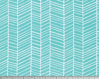 One Yard Cut - Herringbone in Aqua - Basic Colors by Joel Dewberry for Free Spirit -  Quilters Cotton - Fabric by the Yard