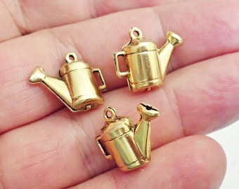 Set of 6 Rare Amazing Details 3D WATER CAN  brass stamping  Charm  Jewelry Making /2Z