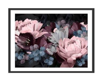 Pink Floral Print. Purple Floral Art. Blue Flower Print. Flower Art. Dark Interiors. Grey Interiors. Wall Decor