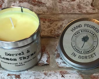 Sorrel & Lemon Thyme Hand Poured Soy Wax Candle With Cotton wick. Made in Dorset