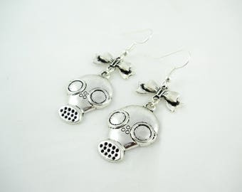 Rock earrings - gas mask