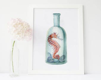 Bottle Art, Marine Art, Vintage Prints, Bathroom Art, Sea Find, Watercolor