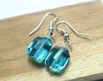 925 Sterling Silver Handmade Earrings Sterling Silver With Natural Blue Topaz Gemstone
