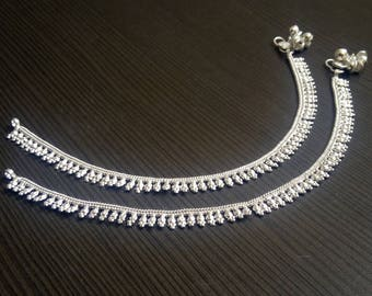 Tribal silver plated anklets | Ethnic banjra style jewelry | Festive wear anklet | Indian silver payal jewelry | Barefoot Girl anklet | A219