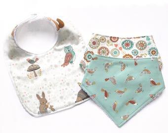 Baby Gift Set - Bandana Bib, Square Bib, Handmade Bib, Woodland Print