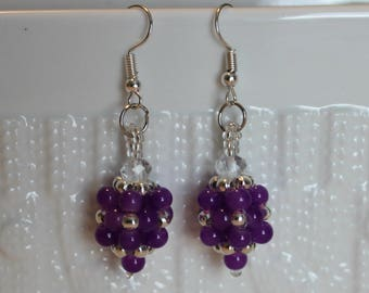 Beautiful Czech crystal & silver-plated alloy beaded handmade earrings; beadweaving, purple, Dangle and drop, casual wear, party wear