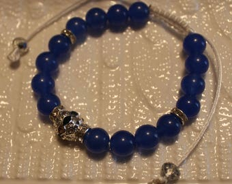 Beautiful Sapphire & silver-plated metal alloy rhinestone-beaded shamballa bracelet; handmade, shamballa, cute, casual-wear, party-wear