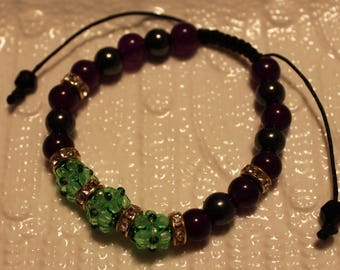 Cute Amethyst, Hematite & glass-beaded bracelet; shamballa, handmade, beadweaving, beautiful, casual wear, party wear